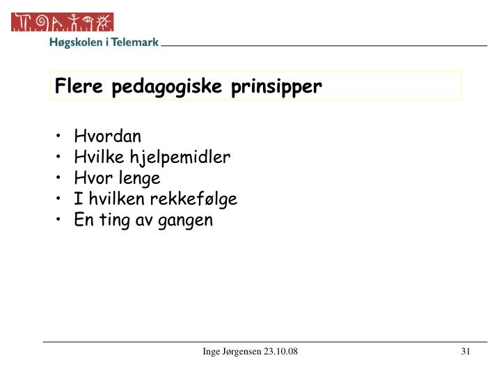 Flere pedagogiske prinsipper