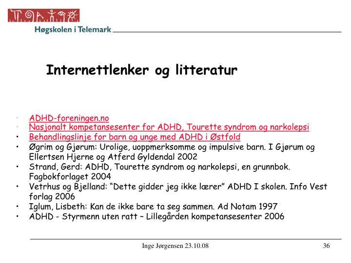 Internettlenker og litteratur
