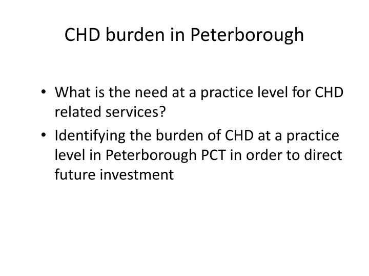 CHD burden in Peterborough