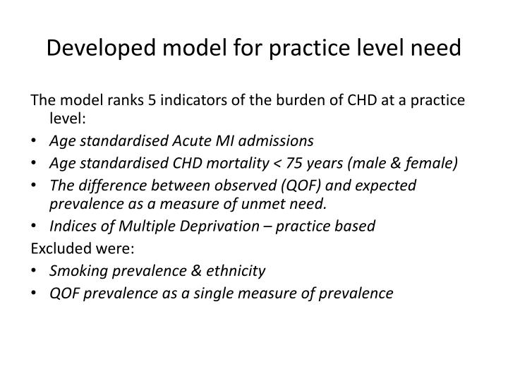 Developed model for practice level need
