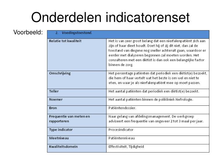 Onderdelen indicatorenset