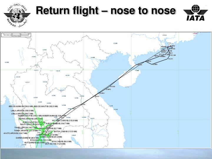 Return flight – nose to nose