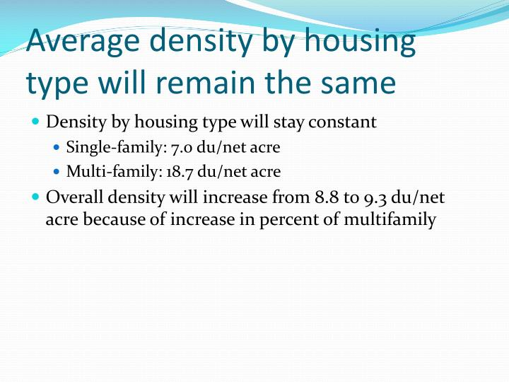 Average density by housing type will remain the same
