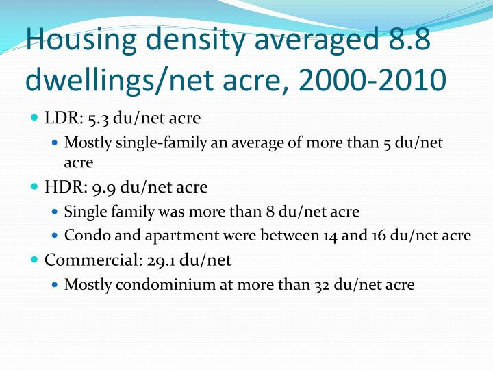 Housing density averaged 8.8 dwellings/net acre, 2000-2010