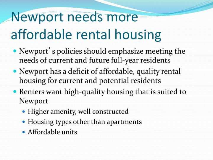 Newport needs more affordable rental housing