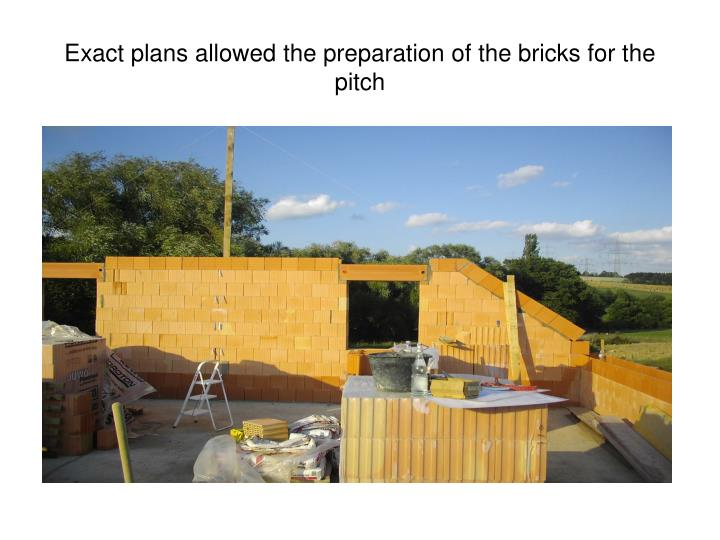 Exact plans allowed the preparation of the bricks for the pitch