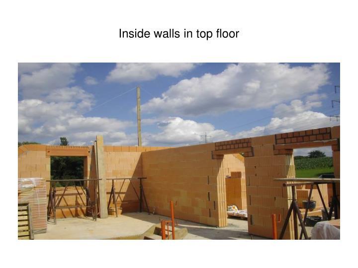 Inside walls in top floor
