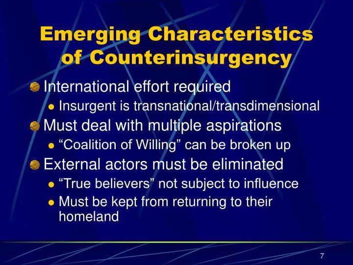 Emerging Characteristics of Counterinsurgency