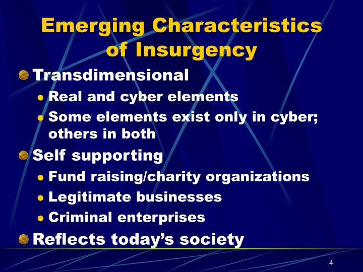 Emerging Characteristics of Insurgency