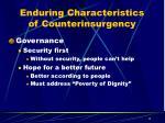 enduring characteristics of counterinsurgency