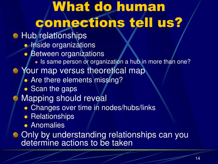 What do human connections tell us?