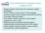 from entitlement to statutory status ready or not