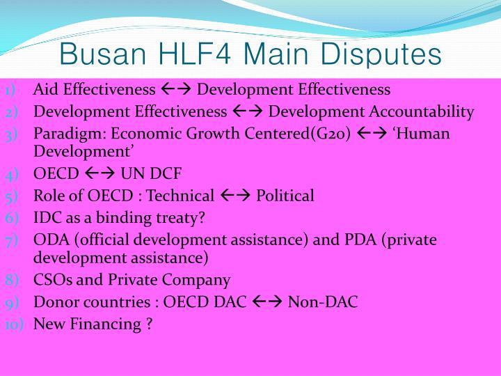 Busan HLF4 Main Disputes