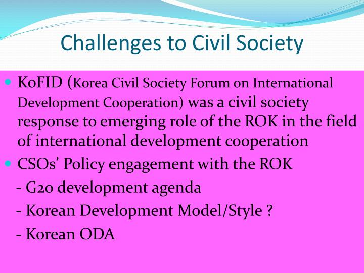 Challenges to Civil Society