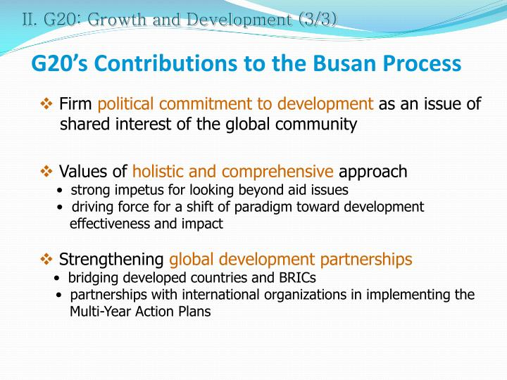 II. G20: Growth and Development (3/3)