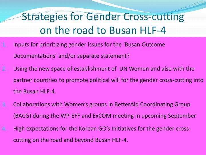 Strategies for Gender Cross-cutting