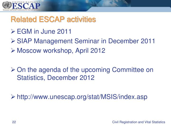Related ESCAP activities