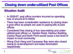 closing down under utilized post offices1