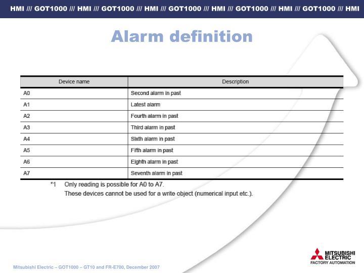 Alarm definition