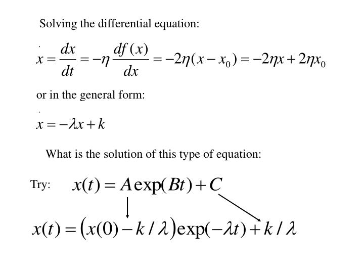 Solving the differential equation: