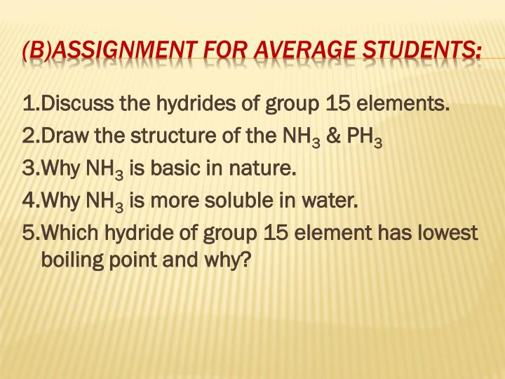 1.Discuss the hydrides of group 15 elements.