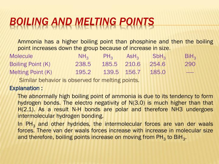 Ammonia has a higher boiling point than