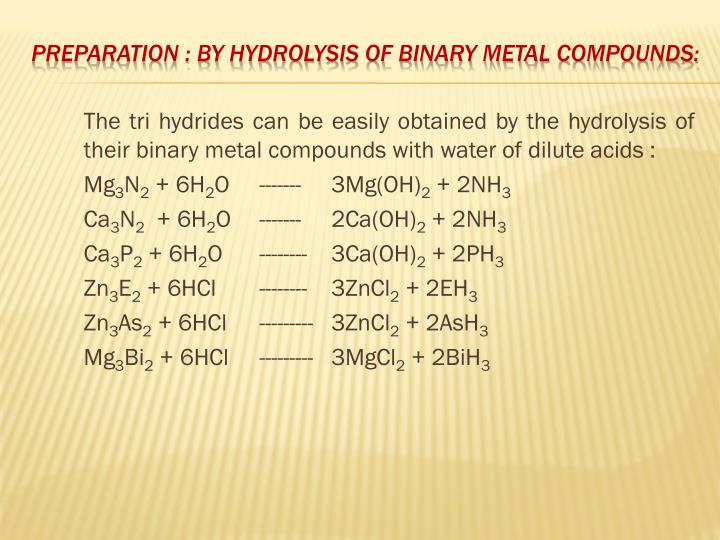The tri hydrides can be easily obtained by the hydrolysis of their binary metal compounds with water of dilute acids :