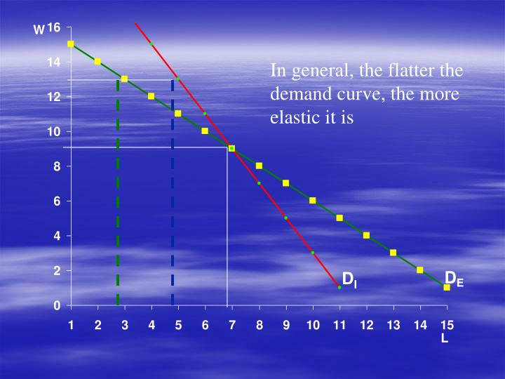 In general, the flatter the demand curve, the more elastic it is