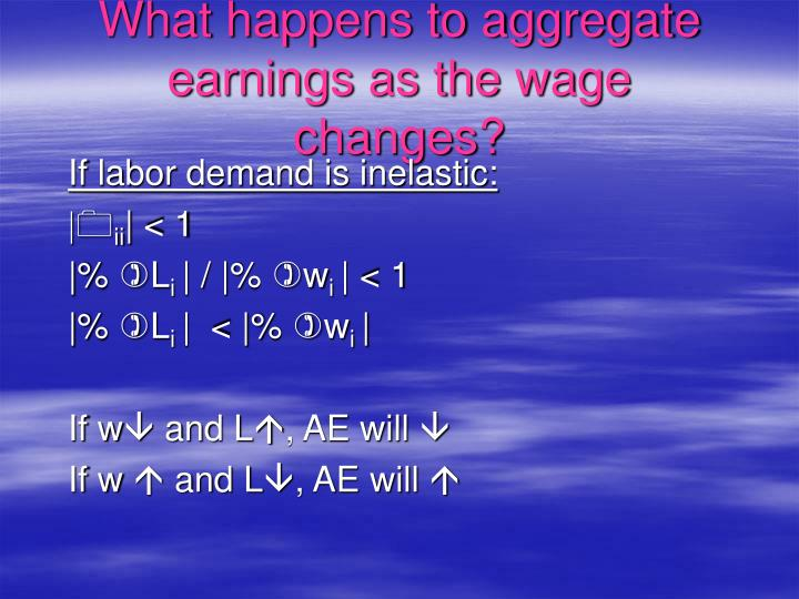 What happens to aggregate earnings as the wage changes?