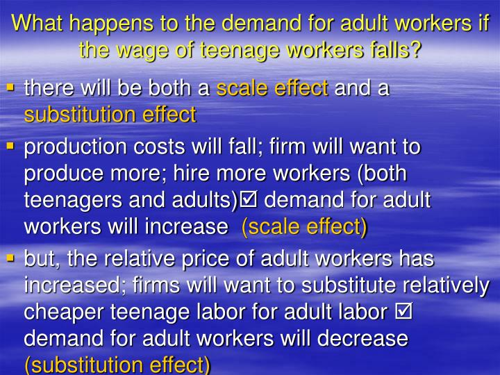 What happens to the demand for adult workers if the wage of teenage workers falls?