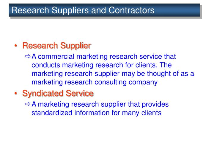 Research Suppliers and Contractors