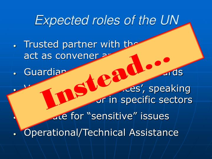 Expected roles of the UN