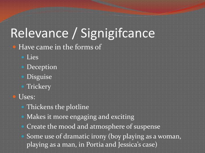 Relevance / Signigifcance