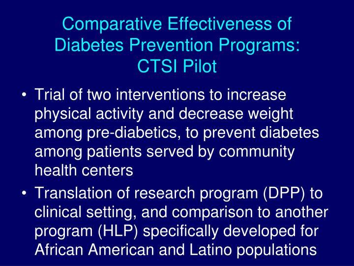Comparative Effectiveness of Diabetes Prevention Programs: