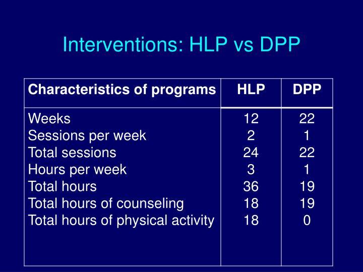 Interventions: HLP vs DPP