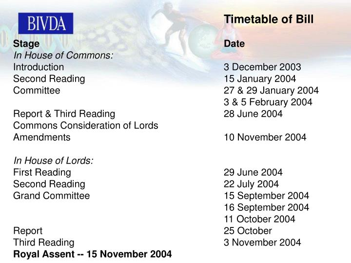 Timetable of Bill