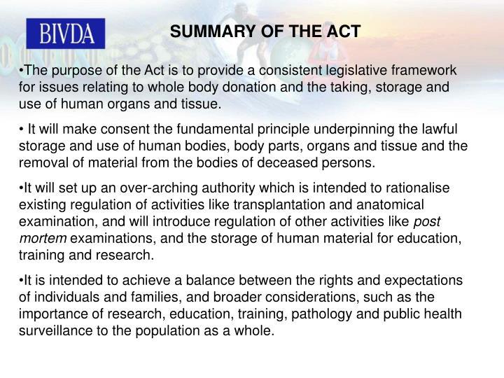 SUMMARY OF THE ACT
