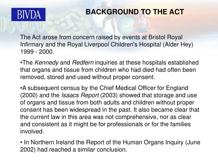 BACKGROUND TO THE ACT