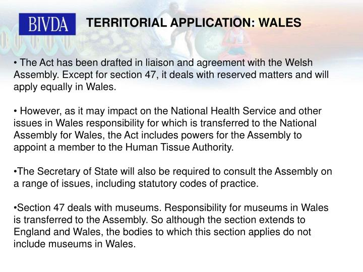 TERRITORIAL APPLICATION: WALES