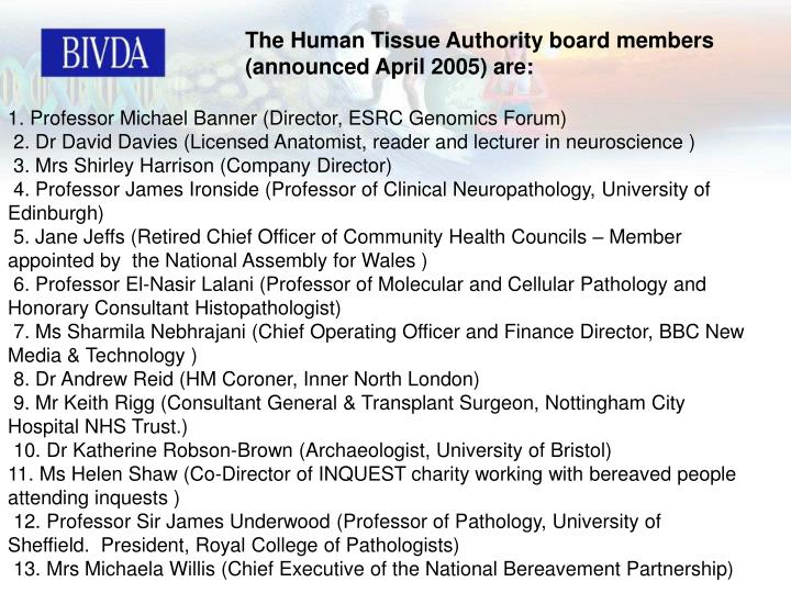 The Human Tissue Authority board members (announced April 2005) are: