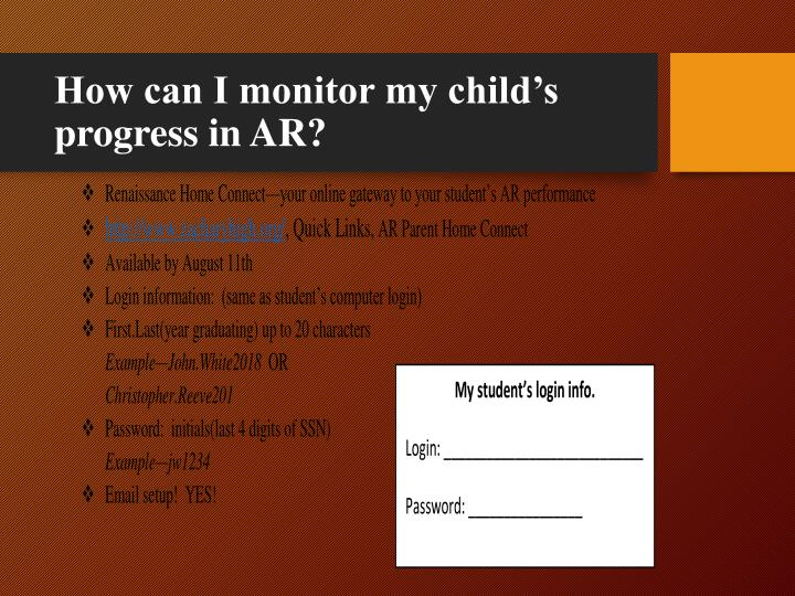 How can I monitor my child's progress in AR?