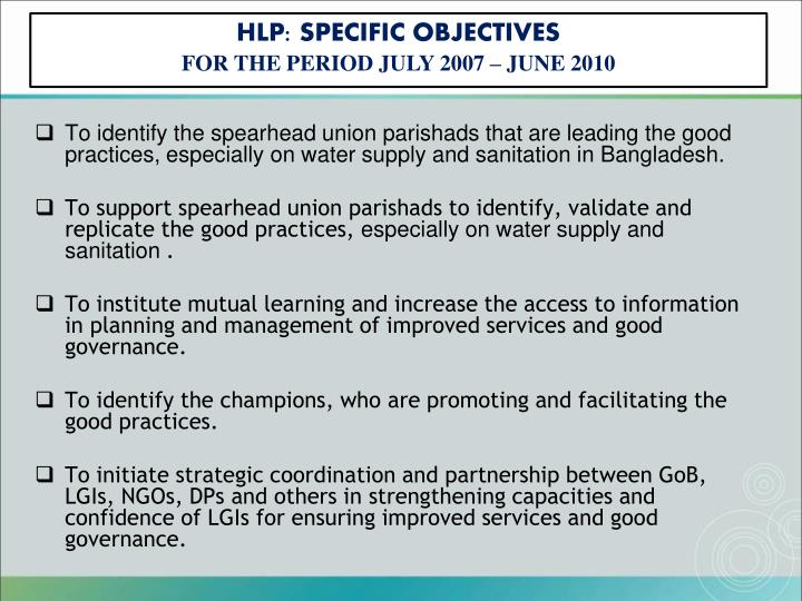 HLP: SPECIFIC OBJECTIVES