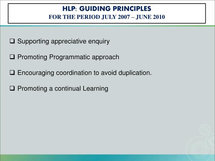 HLP: GUIDING PRINCIPLES