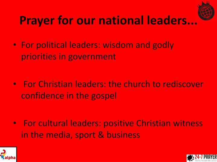Prayer for our national leaders...