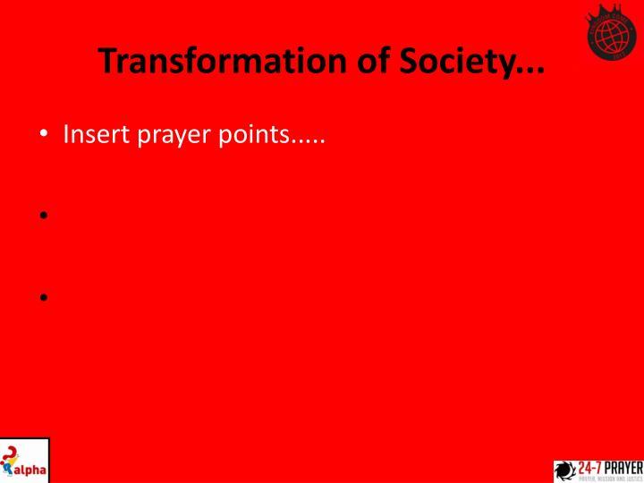 Transformation of Society...