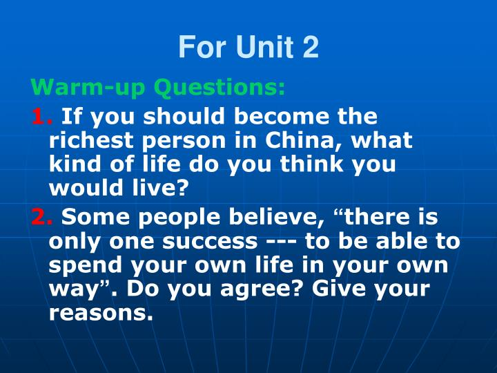 For Unit 2