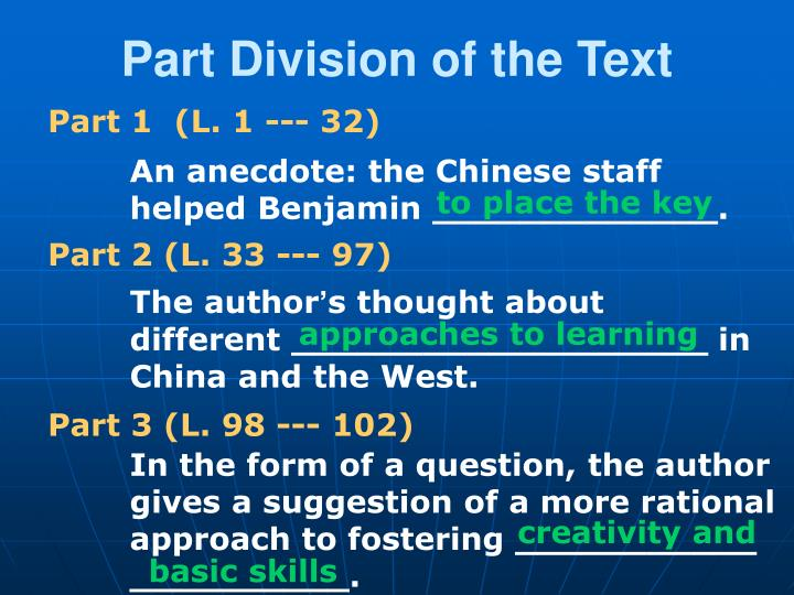 Part Division of the Text
