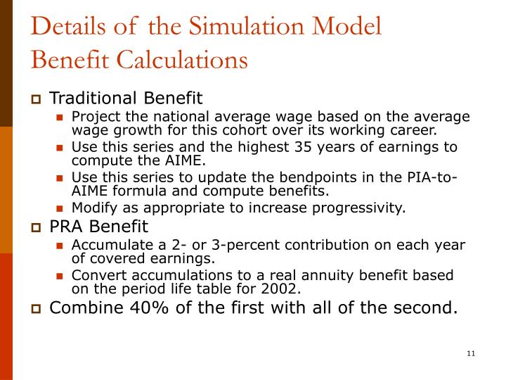 Details of the Simulation Model