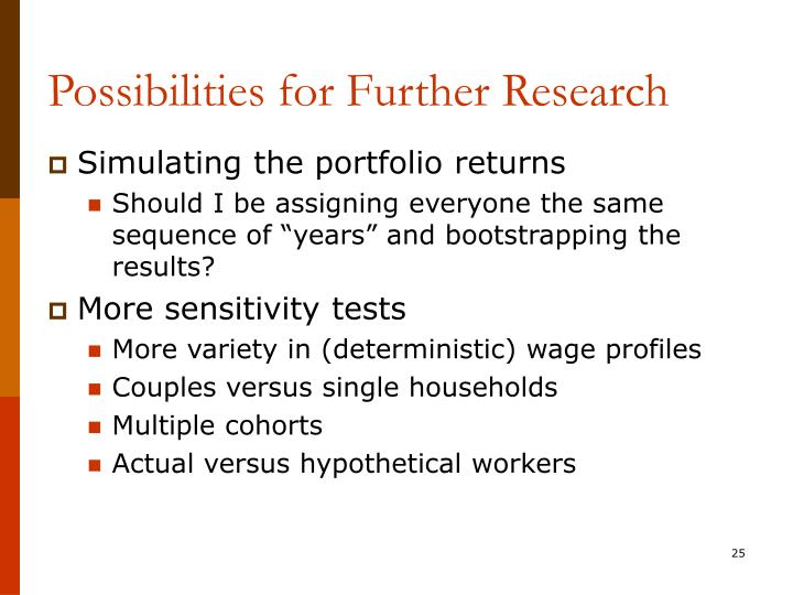 Possibilities for Further Research