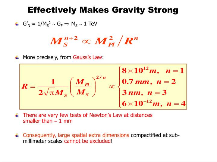 Effectively Makes Gravity Strong